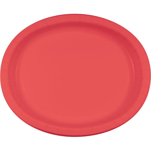 Touch of Color 10 x 12 Oval Paper Platters Coral/Case of 96