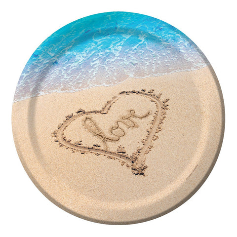10 inch Round Banquet Plates Beach Love/Case of 96