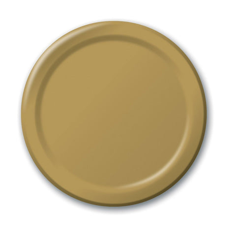 10 inch Round Paper Banquet Plate Glittering Gold/Case of 240