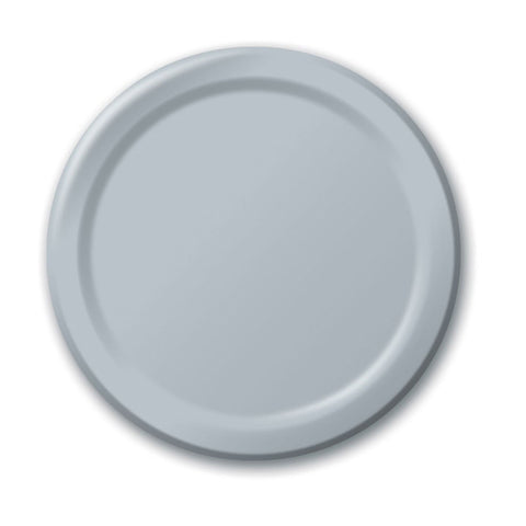 10 inch Round Paper Banquet Plate Shimmering Silver/Case of 240