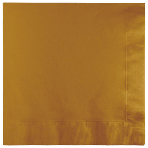 3 Ply 1/4 Fold Dinner Napkins Glittering Gold/Case of 250