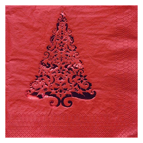 Glitz Red Tree Beverage Napkins 3 Ply Foil Stamp/Case of 192