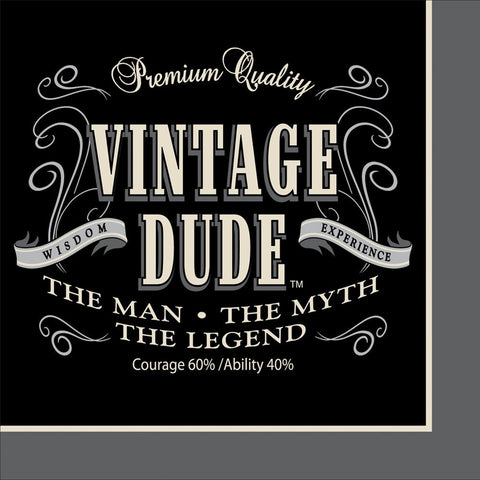 3 Ply Beverage Napkins Vintage Dude/Case of 192