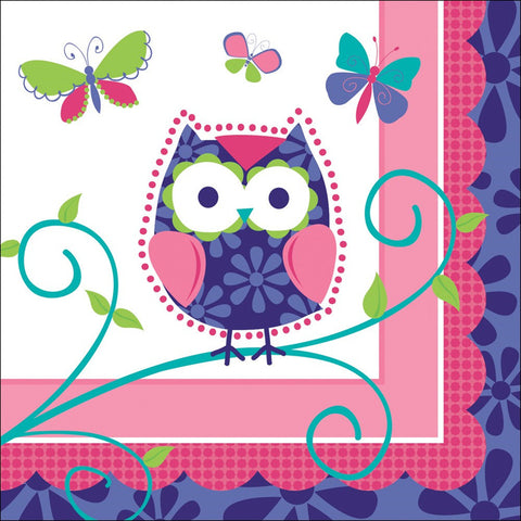 3 Ply Beverage Napkins Owl Pal Birthday/Case of 192