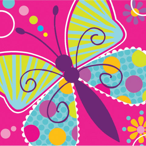 3 Ply Beverage Napkins Butterfly Sparkle/Case of 192