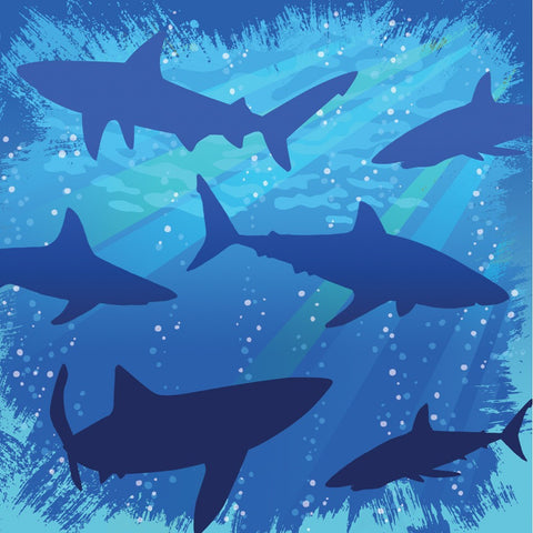 3 Ply Beverage Napkins Shark Splash/Case of 192