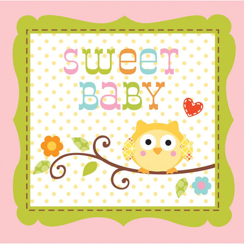 3 Ply Beverage Napkins Sweet Baby Girl Happi Tree/Case of 192