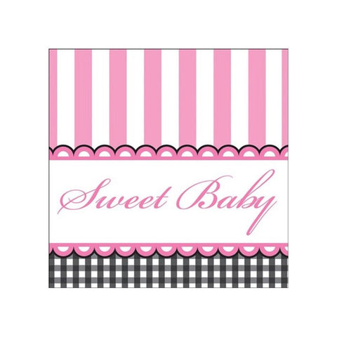 3 Ply Beverage Napkins Sweet Baby Feet Pink/Case of 192