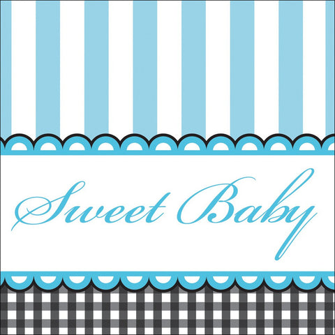 3 Ply Beverage Napkins Sweet Baby Feet Blue/Case of 192