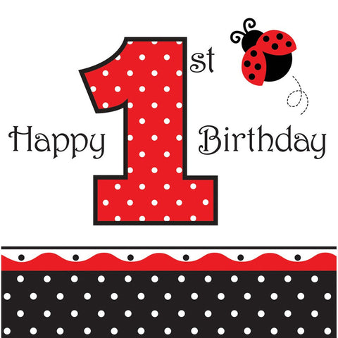 3 Ply Lunch Napkins 1st Birthday Ladybug Fancy/Case of 192