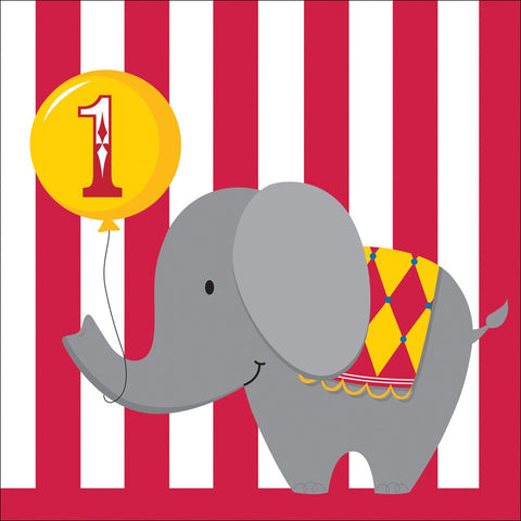 3 Ply Lunch Napkins 1st Birthday Circus Time/Case of 192