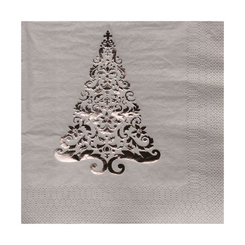 Glitz Silver Tree Lunch Napkins 3 Ply Foil Stamp/Case of 192