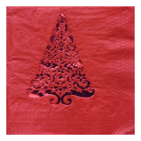 Glitz Red Tree Lunch Napkins 3 Ply Foil Stamp/Case of 192