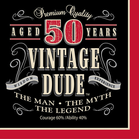 3 Ply Lunch Napkins 50th Vintage Dude/Case of 192