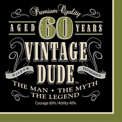 3 Ply Lunch Napkins 60th Vintage Dude/Case of 192