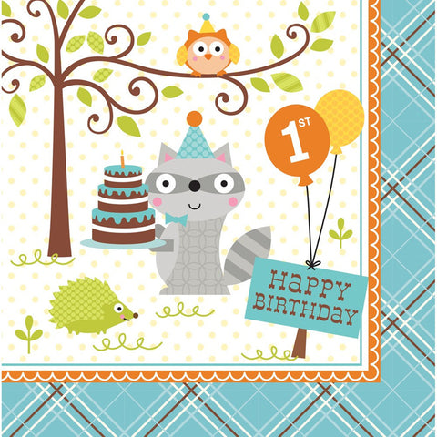 Happi Woodland Boy 3 Ply Lunch Napkins 1st Birthday/Case of 192