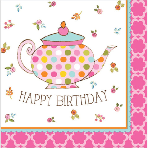 Tea Time 3 Ply Lunch Napkins Happy Birthday/Case of 192