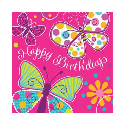 3 Ply Lunch Napkins Happy Birthday Butterfly Sparkle/Case of 192