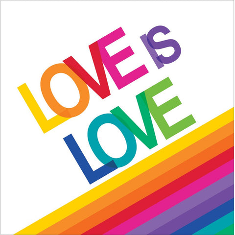 Rainbow 2 Ply Lunch Napkins Love is Love/Case of 192