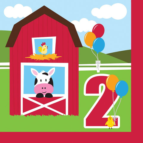 Farmhouse Fun 2 Ply Lunch Napkins 2nd Birthday/Case of 216