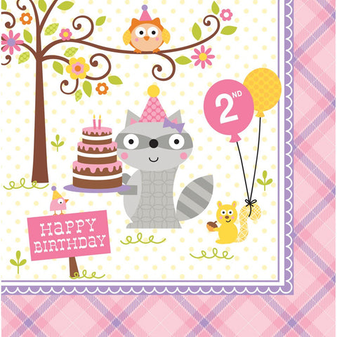 Happi Woodland Girl 3 Ply Lunch Napkins 2nd Birthday/Case of 192
