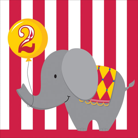 3 Ply Lunch Napkins 2nd Birthday Circus Time/Case of 192