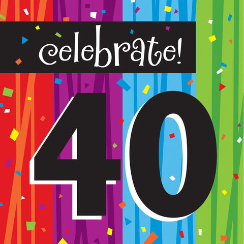 3 Ply Lunch Napkins 40th Milestone Celebrations/Case of 192