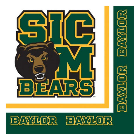 Collegiate 2 Ply Lunch Napkins Baylor University/Case of 240