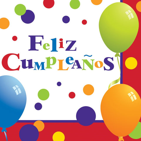 2 Ply Lunch Napkins Feliz Cumpleanos/Case of 192