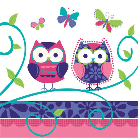 3 Ply Lunch Napkins Owl Pal Birthday/Case of 192