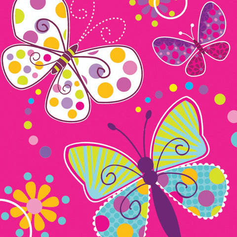 3 Ply Lunch Napkins Butterfly Sparkle/Case of 192