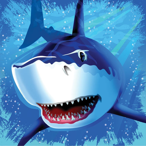 3 Ply Lunch Napkins Shark Splash/Case of 192