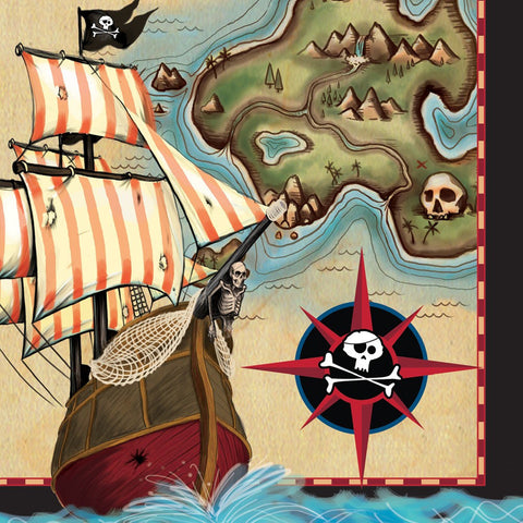 Pirates Map 2 Ply Lunch Napkins/Case of 192