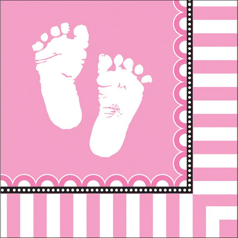 3 Ply Lunch Napkins Sweet Baby Feet Pink/Case of 192