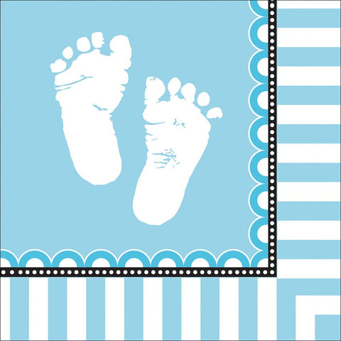 3 Ply Lunch Napkins Sweet Baby Feet Blue/Case of 192