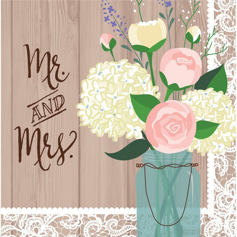 Rustic Wedding 2 Ply Lunch Napkins Mr and Mrs/Case of 192