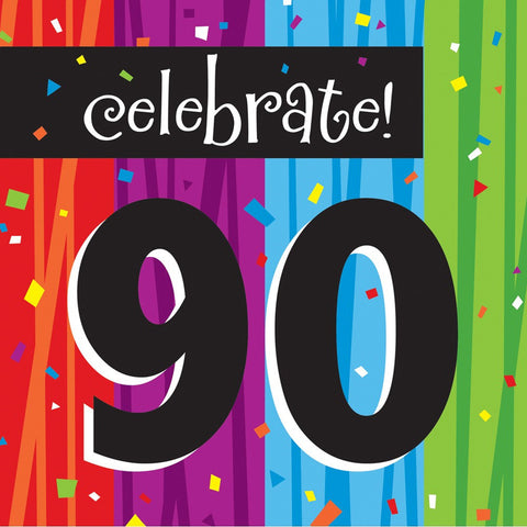 3 Ply Lunch Napkins 90th Milestone Celebrations/Case of 192