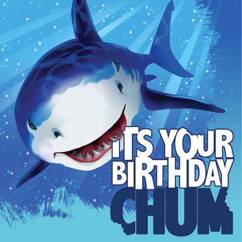 3 Ply Lunch Napkins Happy Birthday Shark Splash/Case of 192