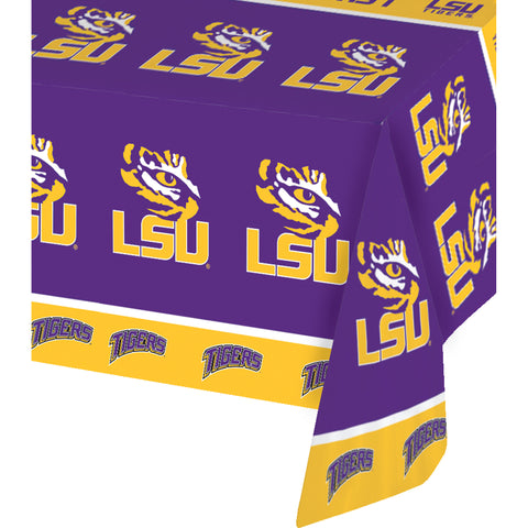 LouisiaState Univ All Over Print 54 x 108 Inch Plastic Tablecover/Case of 12