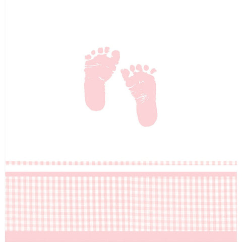 48 x 88 Plastic Tablecover Plaid Baby Girl/Case of 12