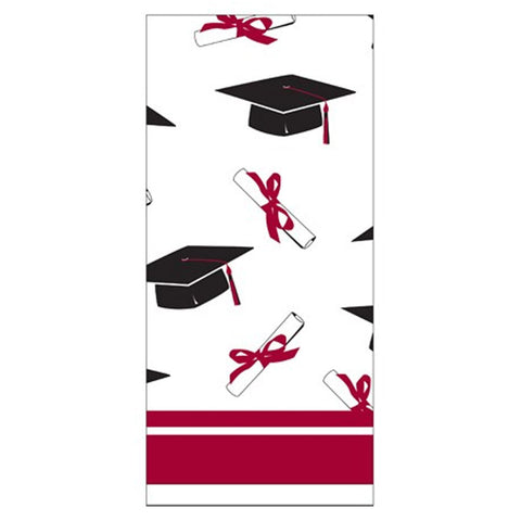School Colors Burgundy Border Print Plastic Tablecover 54 Inchx108 Inch/Case of 12