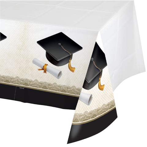 Cap & Gown 54 x 102 Border Print Plastic Tablecover/Case of 12