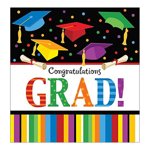 Graduation Fest Plastic Tablecover Border Print 54 Inchx102 Inch/Case of 12
