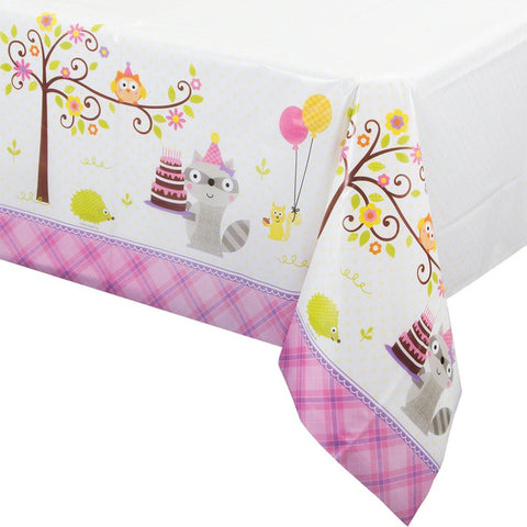 Happi Woodland Girl 54 x 102 Plastic Tablecover All Over Print/Case of 6
