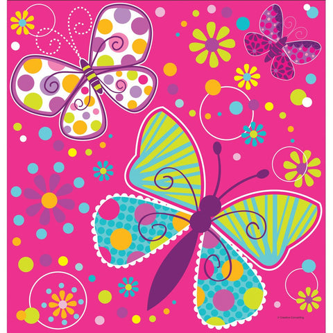 Butterfly Sparkle 54 x 108 Plastic Tablecover Border Print/Case of 6
