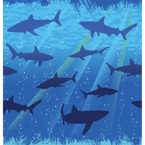 Shark Splash 54 x 108 Plastic Tablecover Border Print/Case of 6