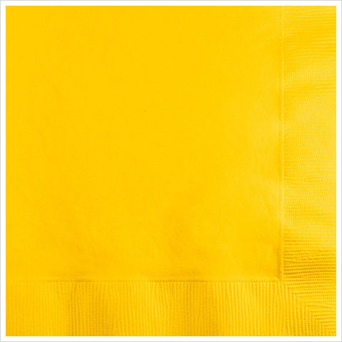 2 Ply Beverage Napkins School Bus Yellow/Case of 600
