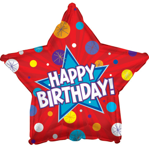 "17"" Happy Birthday Dynamic Star Foil Balloon/Case of 5"