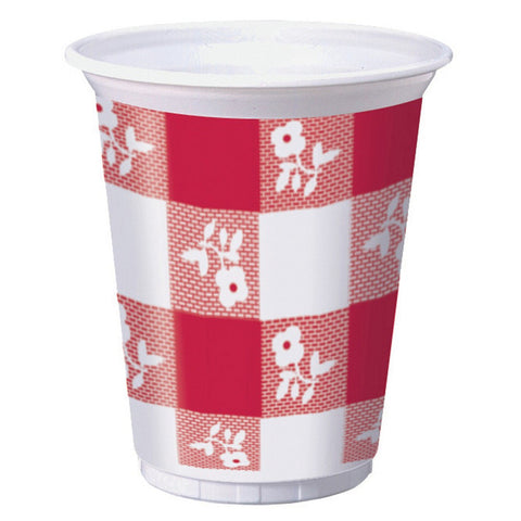 16 Oz Printed Plastic Cups High Count Red Gingham/Case of 300