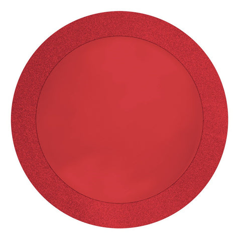 Glitz Red 14 inch Round Placemats with Glitter Border/Case of 96